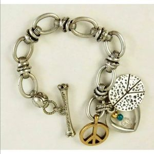 Lucky Brand charm bracelet peace heart Boho rose